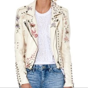 Blank NYC floral embroidered Moto jacket